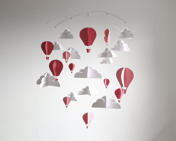 baby mobile pink clouds hot air balloon nursery hush and honey