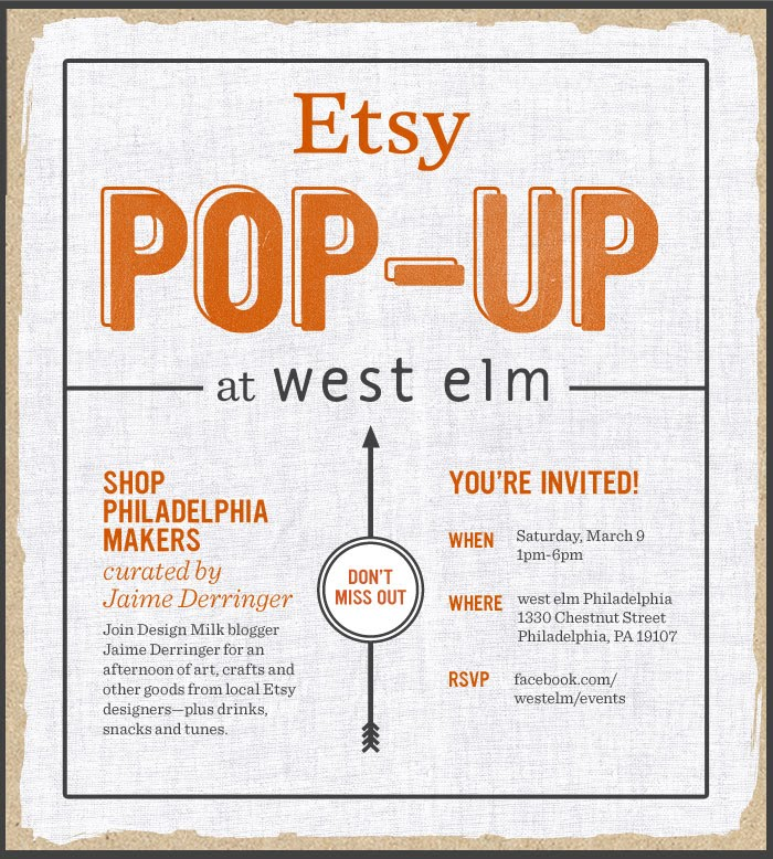 Etsy pop-up West Elm Design Milk designmilk Hush and Honey hushandhoney hushhoneycollective march 2013